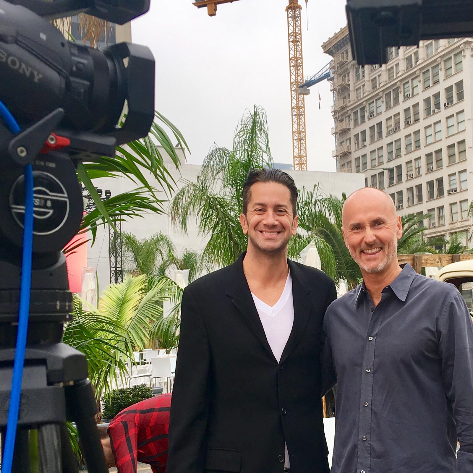 Just before the live TV interview with Chip Conley, Head of Hospitality for AirBnB